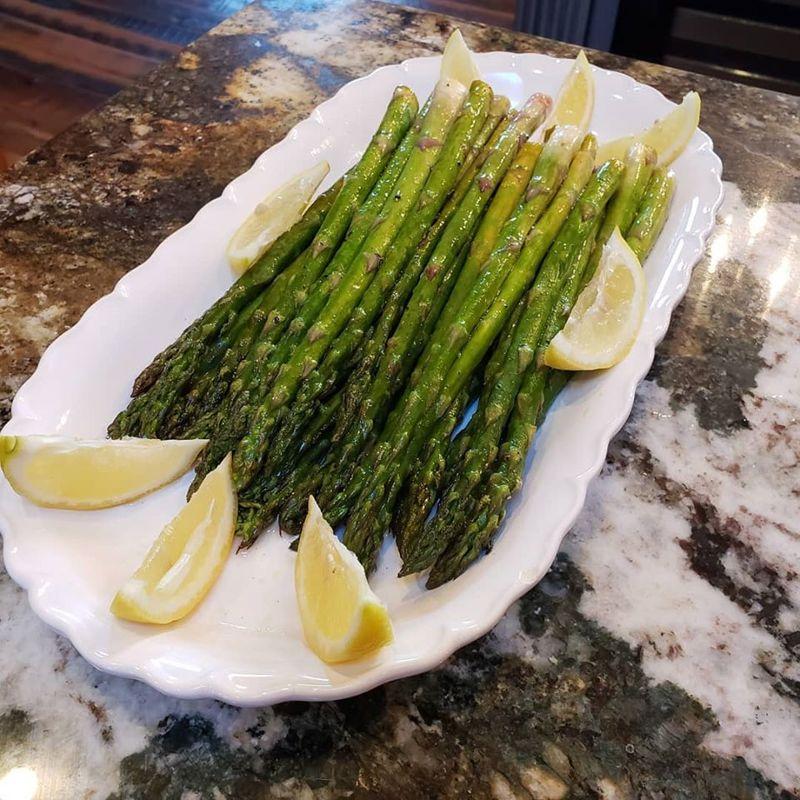 Sicilian lemon and basil asparagus