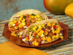 Mango and smoked chaabani fish tacos