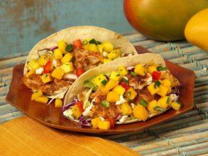 Mango and smoked chaabani fish tacos